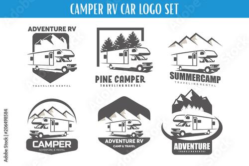 Tableau sur Toile RV Camper Adventure Logo Designs Template Set