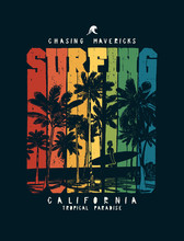 Surfing Palm Beach Man With Surfboard Colorful Vintage Typography T-shirt Print