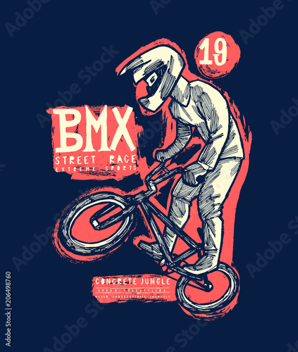 bmx bicycle jumping tricky cyclist vintage typography t-shirt print Wallpaper Mural