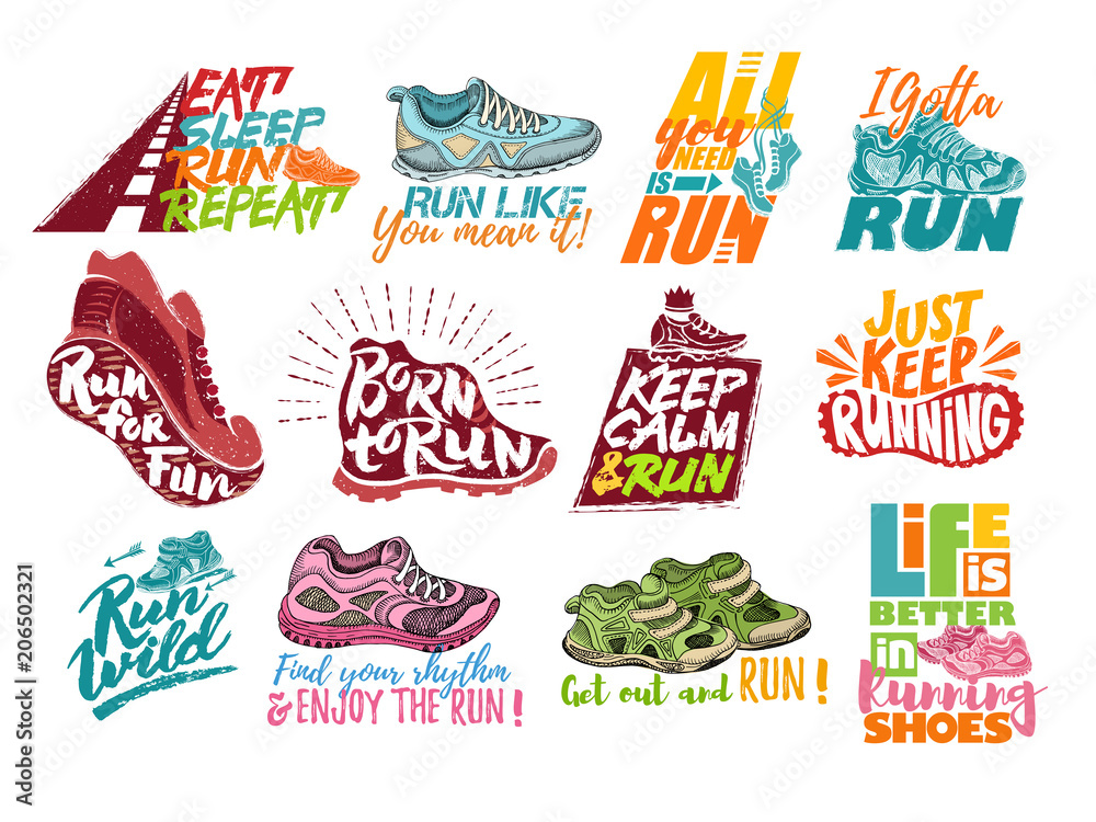 Fototapeta Run lettering on running shoes vector sneakers or trainers with text signs for typography illustration set of runners inscriptions run for fun isolated on white background