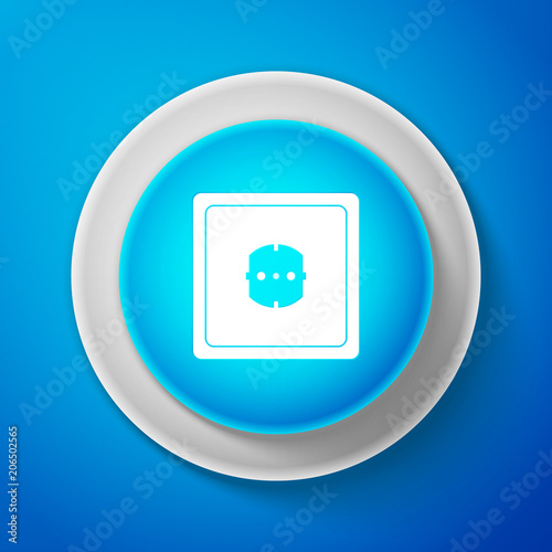 White Electrical Outlet Icon Isolated On Blue Background Power