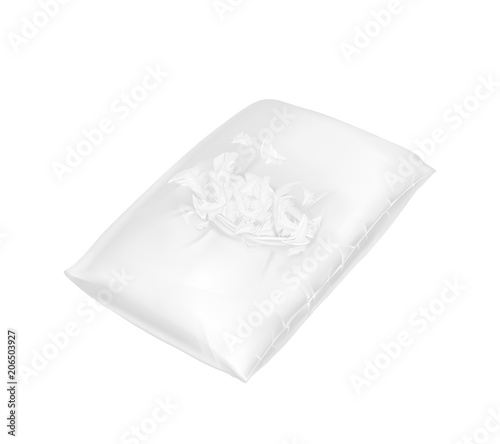 vector 3d realistic torn square pillow template mock up of white