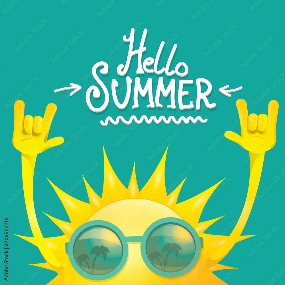 Fototapeta hello summer funky rock n roll vector label isolated on azure. summer party background with funky sun character design template. vector summer party poster