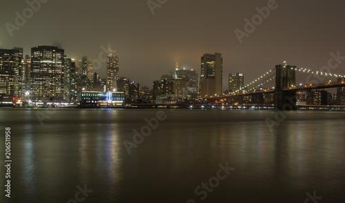 Fototapety, obrazy: New York, ponte di Brooklyn di sera