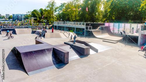 Skatepark in Kaliningrad city. Extrem playground in city park
