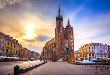Old town market square of Krakow, Poland