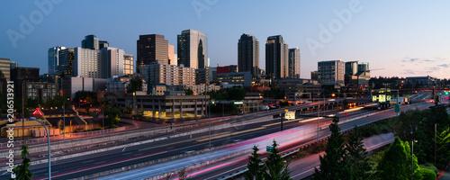 Fototapeta Early Morning Commuters Create Light Trails Before Rush Hour in Bellevue Washington obraz