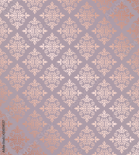 Photo Seamless floral damask rose gold wallpaper