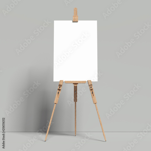 White easel stands next to grey wall, 3d rendering Canvas Print