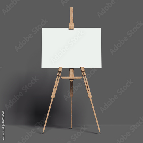 White easel stands next to dark wall, 3d rendering Wallpaper Mural