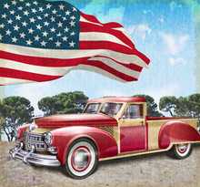 Red Vintage Pick Up Truck With American Flag.