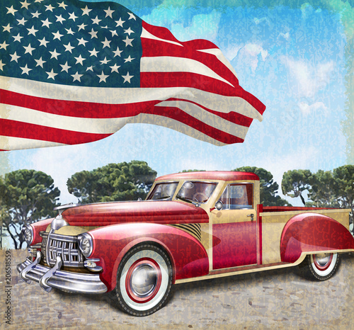 Plakat Red vintage pick up truck with American flag.
