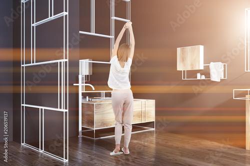 Futuristic Bathroom Corner Mirrors Woman Buy This Stock Photo