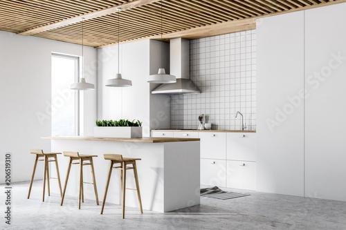 Fototapeta White modern kitchen interior, side view obraz