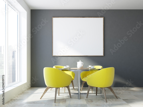 Yellow Chair Dining Room Horizontal Poster Frame