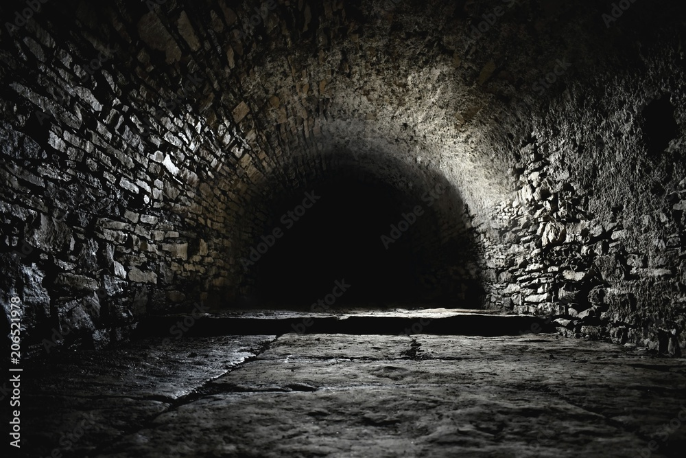 Fototapety, obrazy: Scary underground, old castle cellar