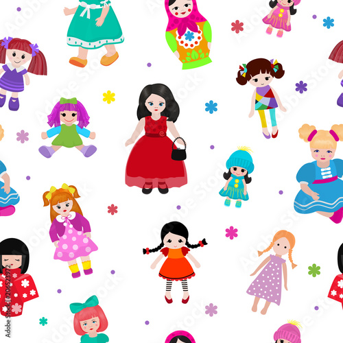 Photo Vector doll toy cute girl female set illustration childhood baby dress face chil