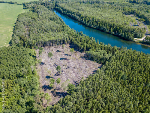 Fotobehang Olijf drone image. aerial view of rural area with fields and forests