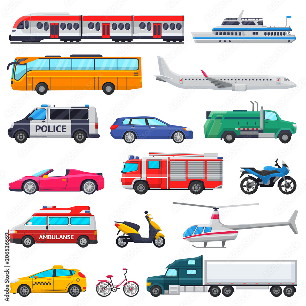 Fototapeta Transport vector public transportable vehicle plane or train and car or bicycle for transportation in city illustration set of ambulance fire-engine and police car isolated on white background