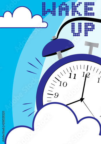 Fotobehang Pop Art Wake up poster with alarm clock and clouds on blue background