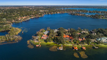 Aerial Shot Of Lakeside Homes ...