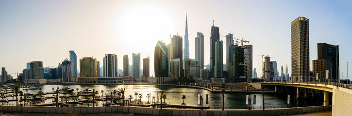 Panoramic view of downtown Dubai cityscape and the Dubai creek