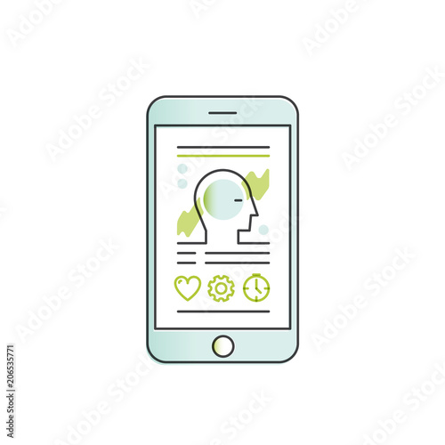 Vector Icon Style Illustration of Mobile Health Tracker App with