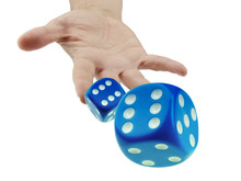 Throwing Or Rolling Dice Closeup Isolated