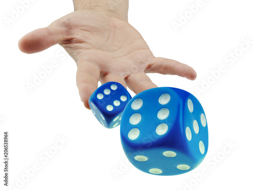Throwing or rolling dice closeup isolated Fototapete