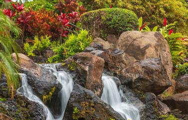 Panel Szklany Wodospad Beautiful Resort Waterfall on Maui