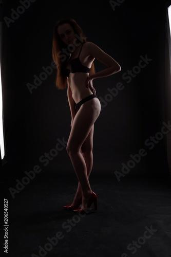 Fototapeta Perfect woman body on black background obraz na płótnie