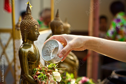 Wall Murals Place of worship Thailand new year holiday tradition vacation to water the monk