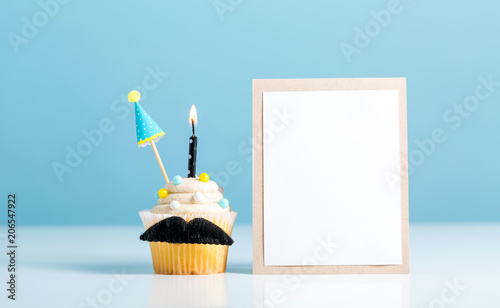 Cupcake with a moustache in Father's Day theme Canvas Print