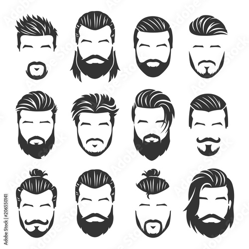 Carta da parati 12 Set of vector bearded men faces with different haircuts and style pack