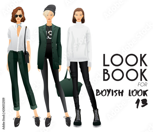Fényképezés Body Template with Outfits and Accessories for Boyish Look : Vector Illustration