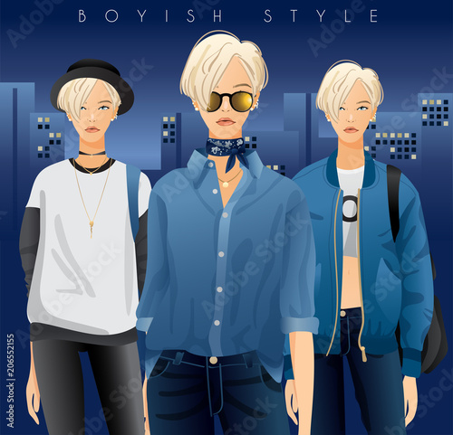 In de dag Kinderkamer Body Template with Outfits and Accessories : Women in Boyish Look Standing in City Background : Vector Illustration