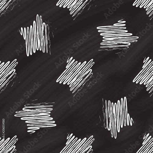 Cotton fabric Doodle stars on a chalkboard background. Vector seamless pattern