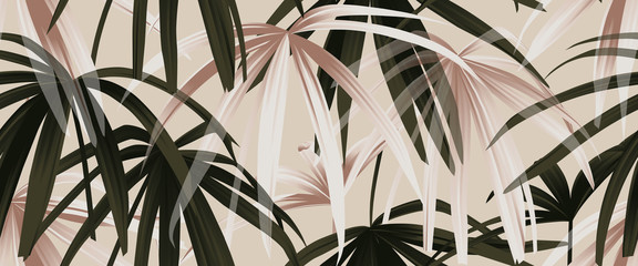 Fototapeta Liście Tropical plant seamless pattern, rose gold and green palm leaves on light pink background