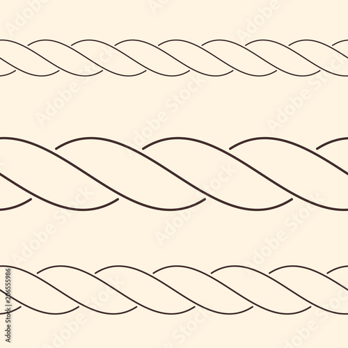 Fotografiet  Seamless minimalist rope borders, can be used as brush