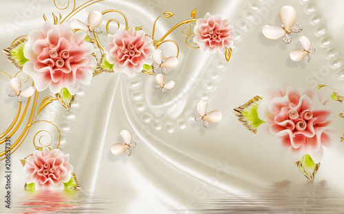 Fototapety na wymiar   3d-red-jade-flower-background-on-fabric