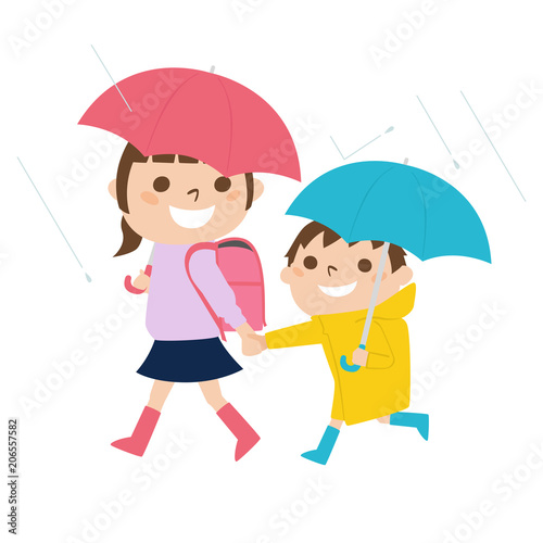 雨の日にレインコートを着て歩く小学生の女の子と男の子のイラスト Buy