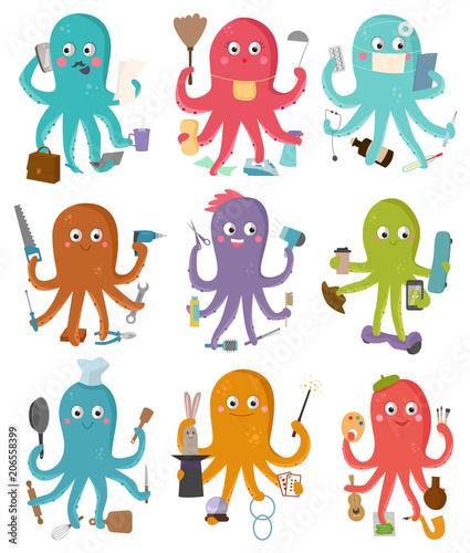 Fototapeta  Octopus occupation vector illustration cartoon octopi character of businessman c