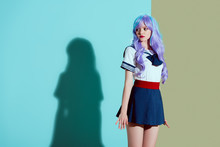 Beautiful Girl In Bright Wig A...