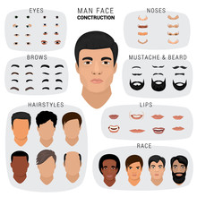 Man Face Constructor Vector Ma...