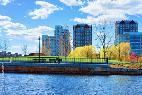 Modern Buildings at North Point Park Charles River Cambridge Wallpaper Mural