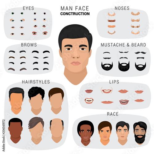 Fototapeta Man face constructor vector male character avatar creation head skin nose eyes w