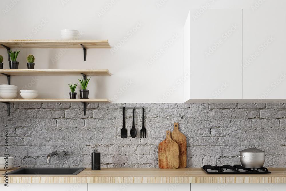 Fototapety, obrazy: White kitchen counter