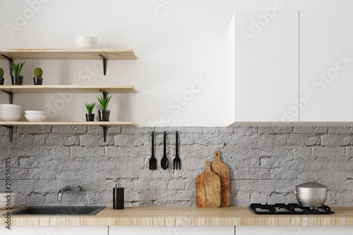 Fotografía  White kitchen counter
