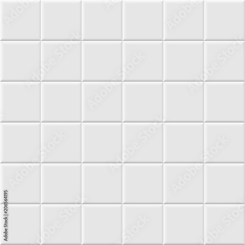 Cuadros en Lienzo White ceramic tile seamless pattern. Vector background.