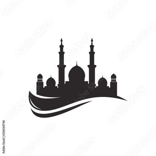 Canvas Print Mosque silhouette icon logo template, Mosque icon vector Illustration design tem